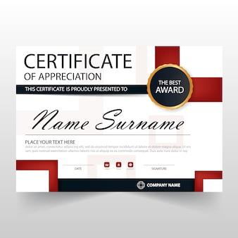 Certificado elegante rojo y negro horizontal de apreciación