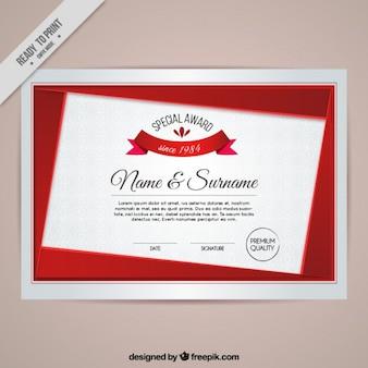 Certificado moderno con detalles rojos