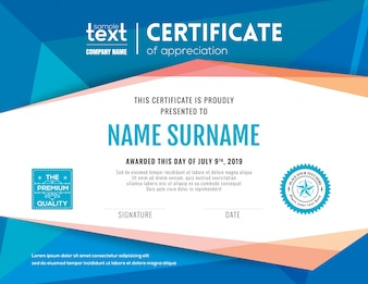 Certificado moderno con la plantilla azul del diseño del fondo poligonal