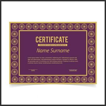 Certificado morado de lujo