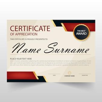 Certificado negro y rojo vintage horizontal de apreciación