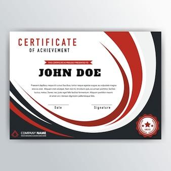 Certificado ondulado de color rojo y negro