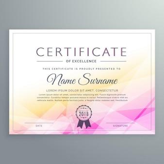 Certificado poligonal amarillo y rosa