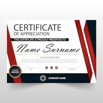 Certificado rojo y negro horizontal de apreciación