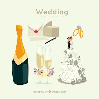 Champán con elementos de boda