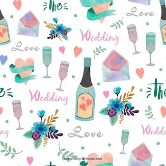 champán de la acuarela con el patrón de elementos de la boda