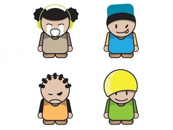 Characters Coloridas de dibujos animados En Expresiones lindo de