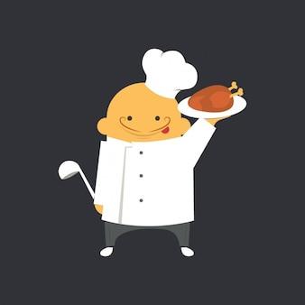 Chef plana con bandeja