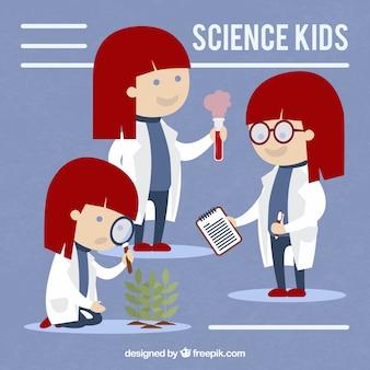 Chica científica en diseño plano