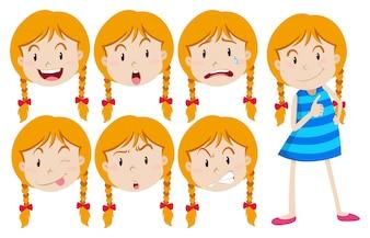 Chica con pelo rubio con muchas expresiones faciales ilustración