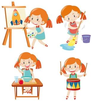 Chica en vestido azul haciendo diferentes actividades