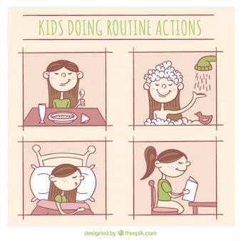 Chica haciendo actividades de rutina diaria