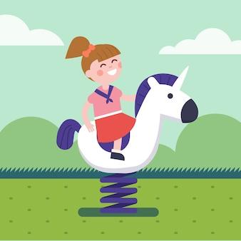 Chica montando un caballo de primavera paseo en parque patio