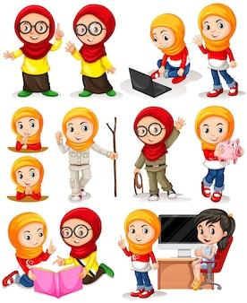 Chica musulmana en diferentes acciones ilustración