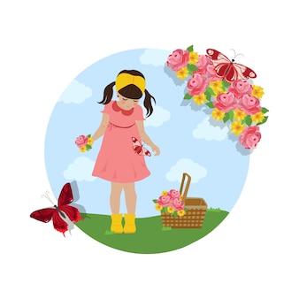 Chica recogiendo flores