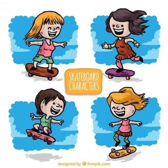 Chicas patinadoras dibujadas a mano