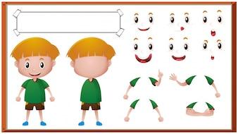 Chico con diferentes expresiones faciales