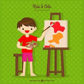 Chico feliz pintando