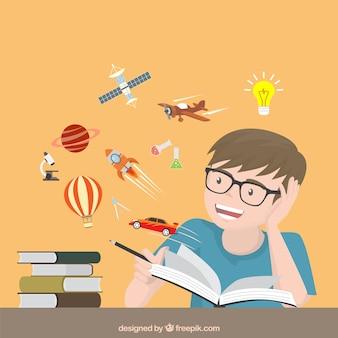 Chico leyendo historias creativas