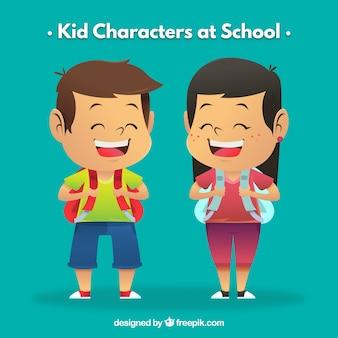 Chico y chica en la escuela