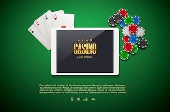 Chips de casino y móviles aislados sobre fondo verde