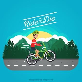 Ciclista pintado a mano en la carretera con una cita