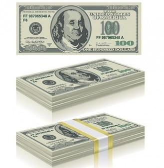 Cien dólares moneda de facturas vector