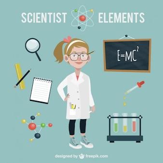 Científico con accesorios de ciencia