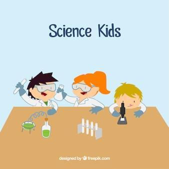 Científico niños dibujos animados en el laboratorio