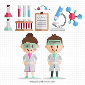 Científicos con accesorios de laboratorio en diseño plano