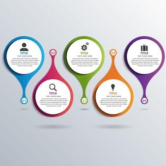 Cinco coloridas opciones para infografías