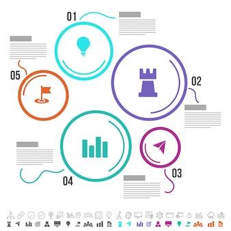 Cinco pasos, línea de tiempo Diseño de Infographics con los iconos fijados, en versiones blancas y negras y coloridas.