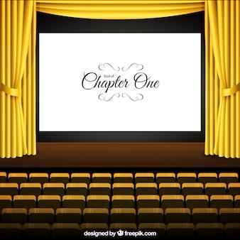 Cine con pantalla de color amarillo y cortinas