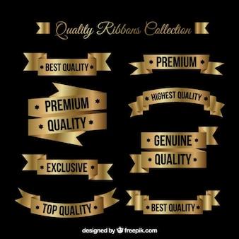 Cintas de calidad suprema planas doradas