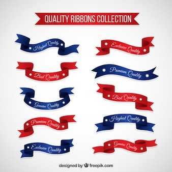 Cintas de productos de calidad rojas y azules