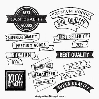 Cintas e insignias de calidad suprema dibujados a mano