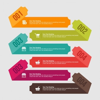 Cintas infográficas de colores en diseño plano