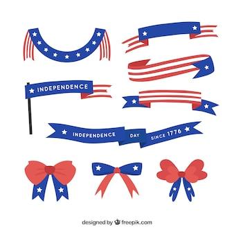 Cintas y lazos del día de independencia dibujado a mano