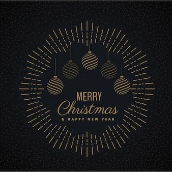 Círculo con rayos y bolas de navidad sobre un fondo oscuro