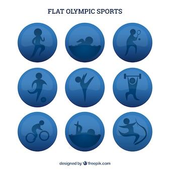 Círculos planos de deportes olímpicos