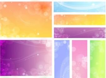Círculos transparentes superpuestos y líneas onduladas en el fondo en colores pastel