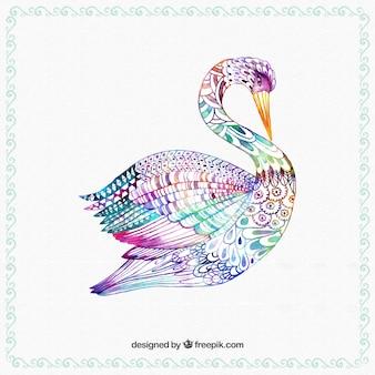 Cisne colorido pintado a mano
