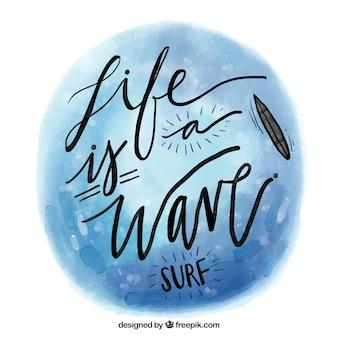 Cita de surf de acuarela
