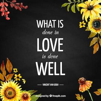 Cita inspiradora con flores de acuarela