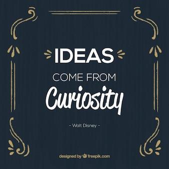 Cita sobre la curiosidad en un diseño vintage