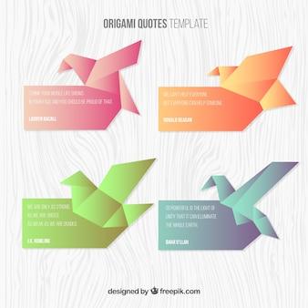 Citas de origami de forma de pájaro