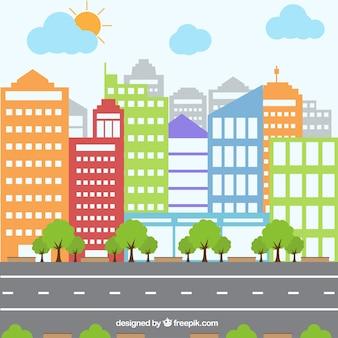 Ciudad colorida y poligonal