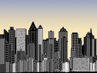 Ciudad con muchos edificios