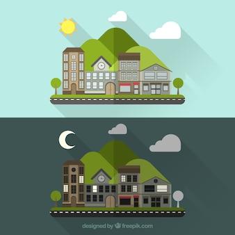 Ciudad de día y de noche en un estilo plano