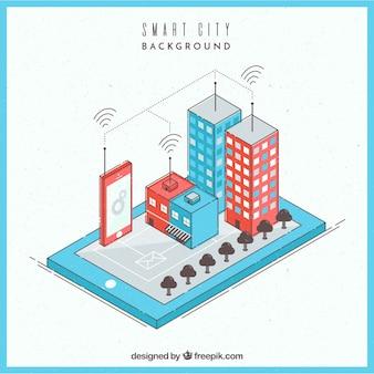 Ciudad de negocios inteligente en estilo isométrico
